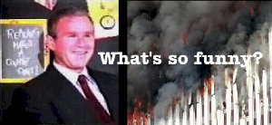 Bush smiling in front of children on morning of 911